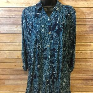 ROZ & ALI Tunic Shirt Size Large Womens Blue Butto